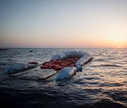 Remnants of a Mediterranean refugee boat.