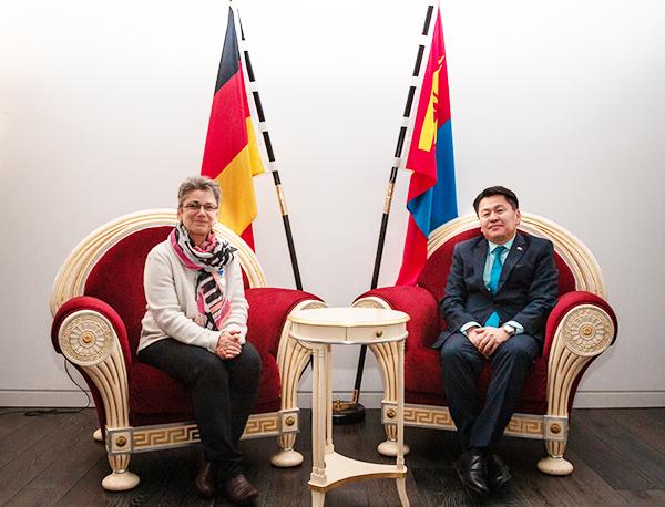 Dr Judith Pschibille and Mongolian ambassador in Berlin, Dr Damba Ganbat.