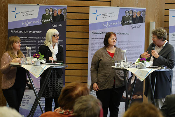 Panel discussion in Düsseldorf: Agnieszka Godfrejów-Tarnogórska, Petra Schulze, Dr Dace Balode and OKR Barbara Rudolph.