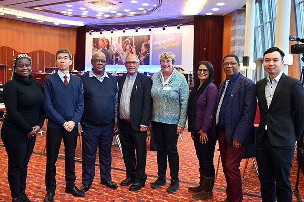 Delegates from the different Rhineland churches: (L-R) Terri Lynn Smith (RCSA), Ka Keung Chan (CRC), Joseph van Houten and Ashley Fransman (RCSA), Executive Minister Barbara Rudolph, Brenda Sass and Tommy Solomons (RCSA) and Kwan Ching Yu (CRC).